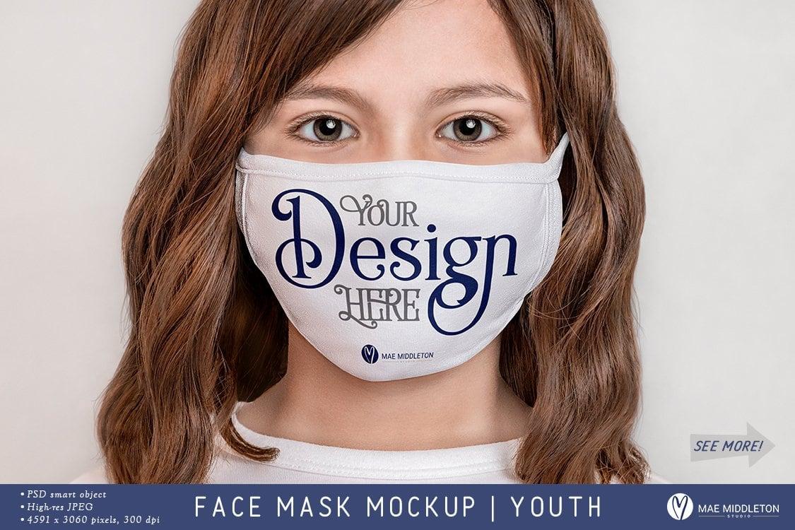 Youth Face Mask Mockup