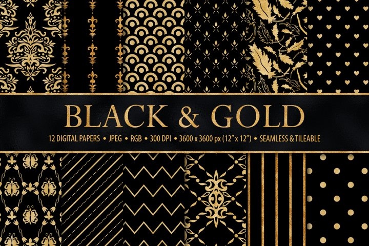 Black and Gold Seamless Paper for Christmas