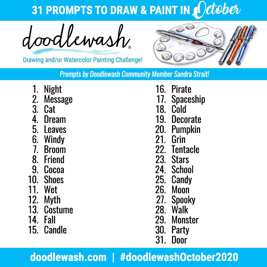 Doodlewash Prompt List - Inktober Alternative