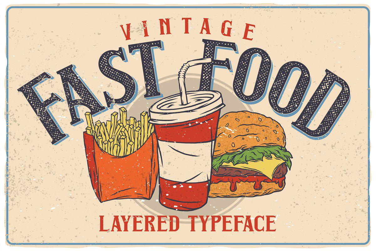Fast Food Layered Typeface By Vozzy Vintage Fonts