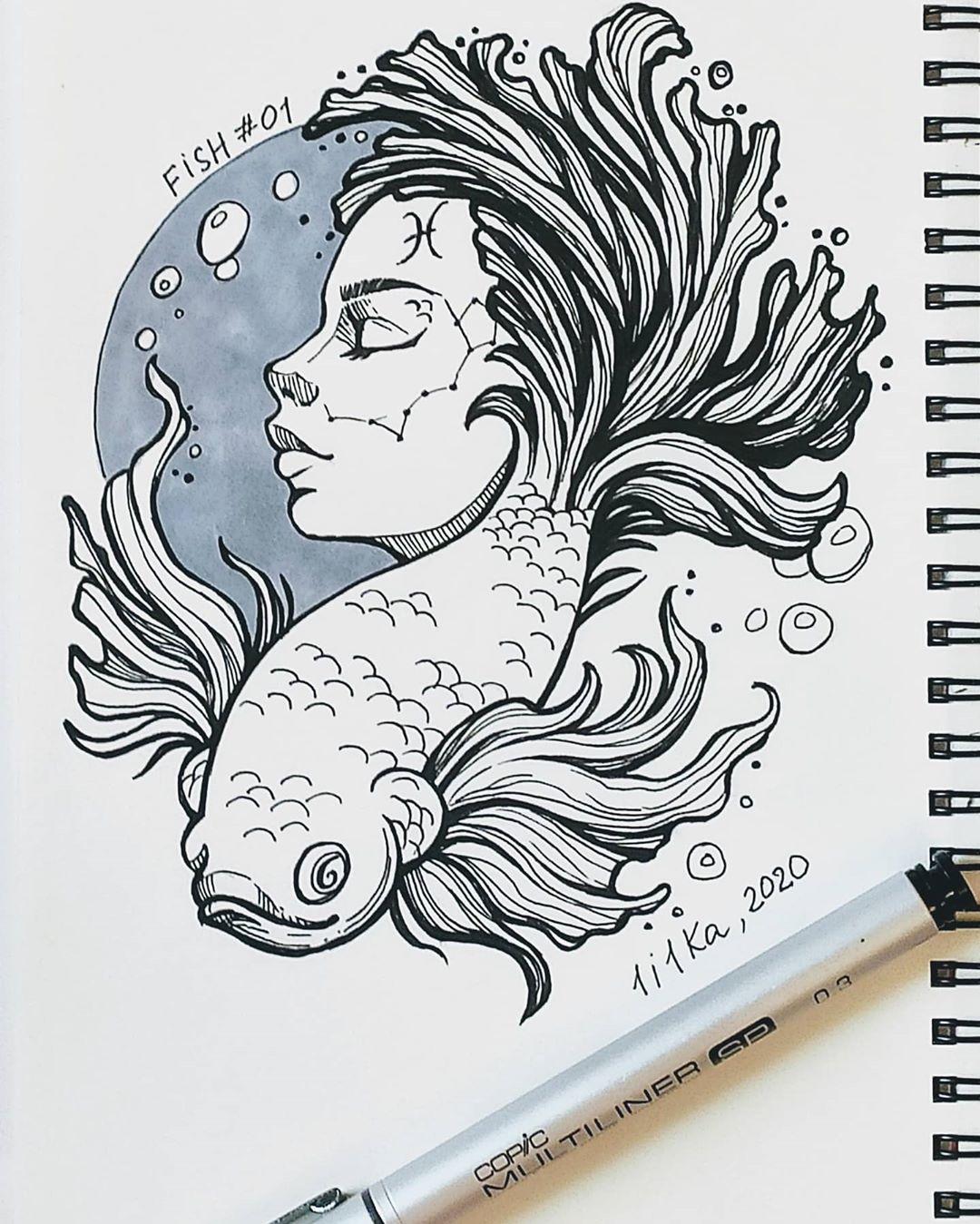 Inktober Fish - 1i1ka11