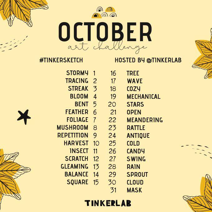 October Art Challenge Prompt List - Inktober Alternative