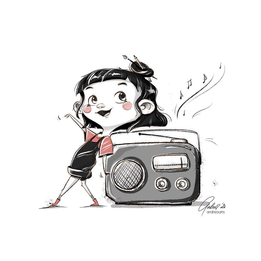 Inktober 2020 Radio - _andrea.arts_