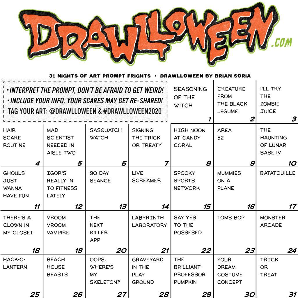 Drawlloween Prompt List - Inktober Alternative