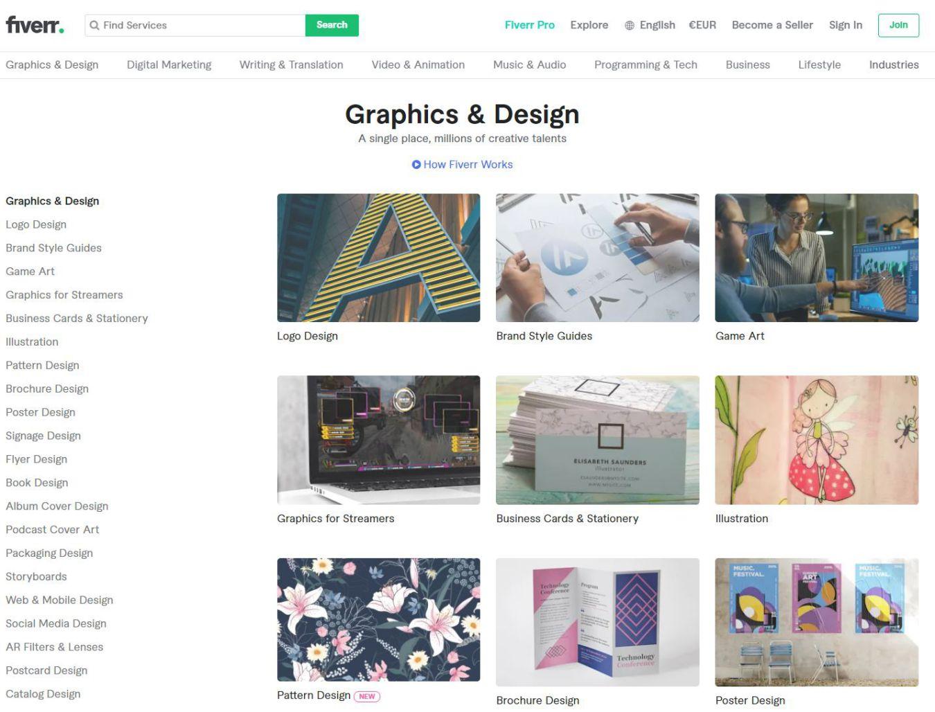Hiring a designer at Fiverr