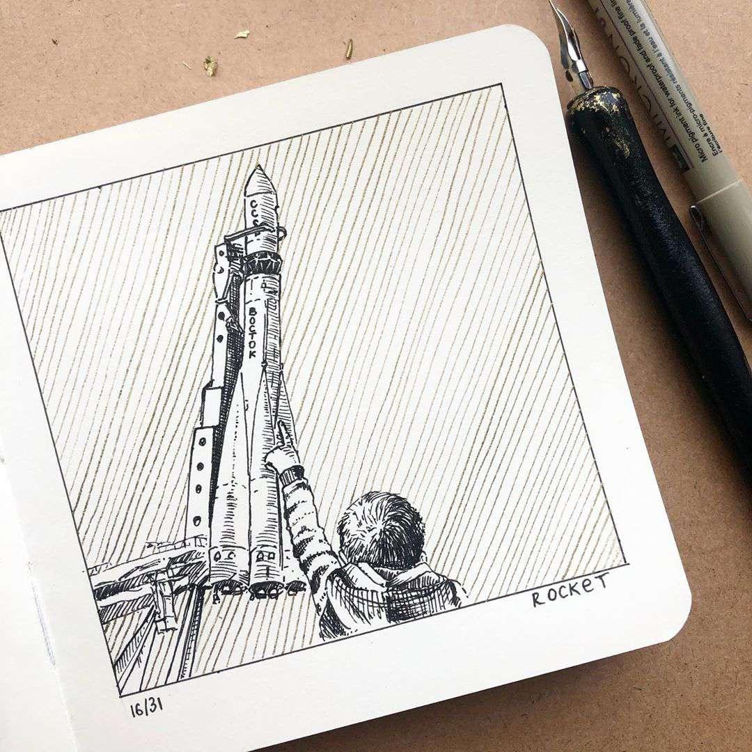 Inktober 2020 - Rocket - mari.volkova