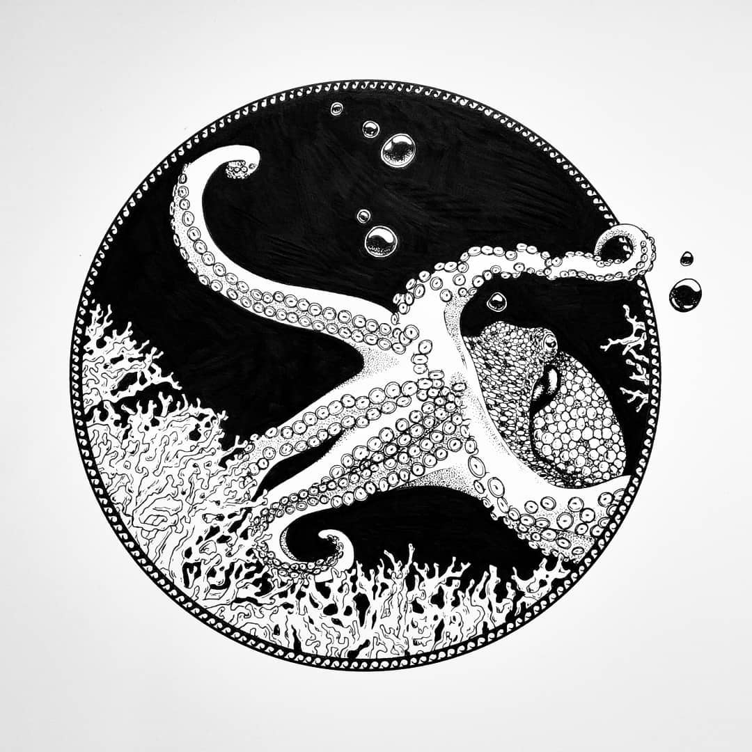 Inktober 2020 - Coral - stroke.and.stitch
