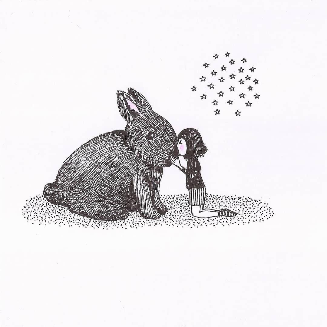 Girl Hugging Rabbit Illustration - María José Cabral