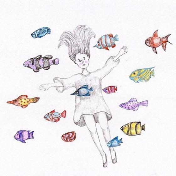 Girl with fish Illustration María José Cabral