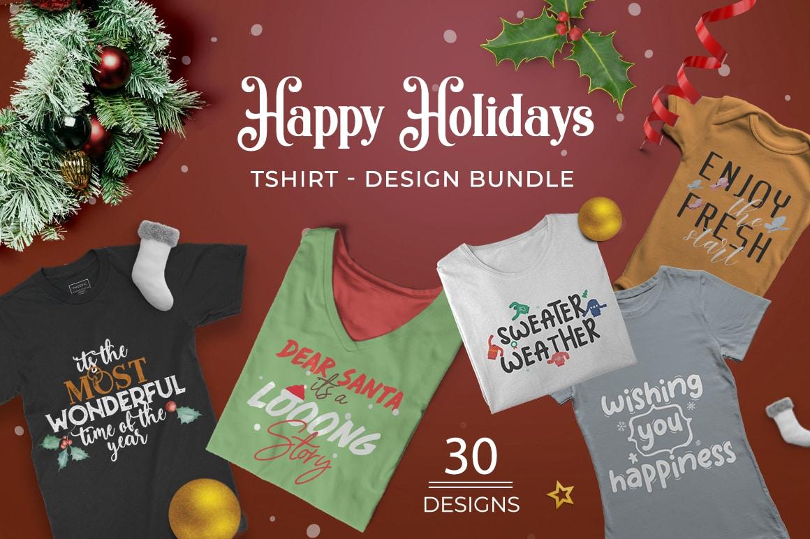 Free Holiday T-shirt Designs Bundle