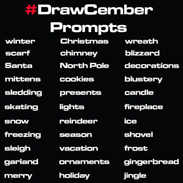 Official Drawcember prompt list of 2017
