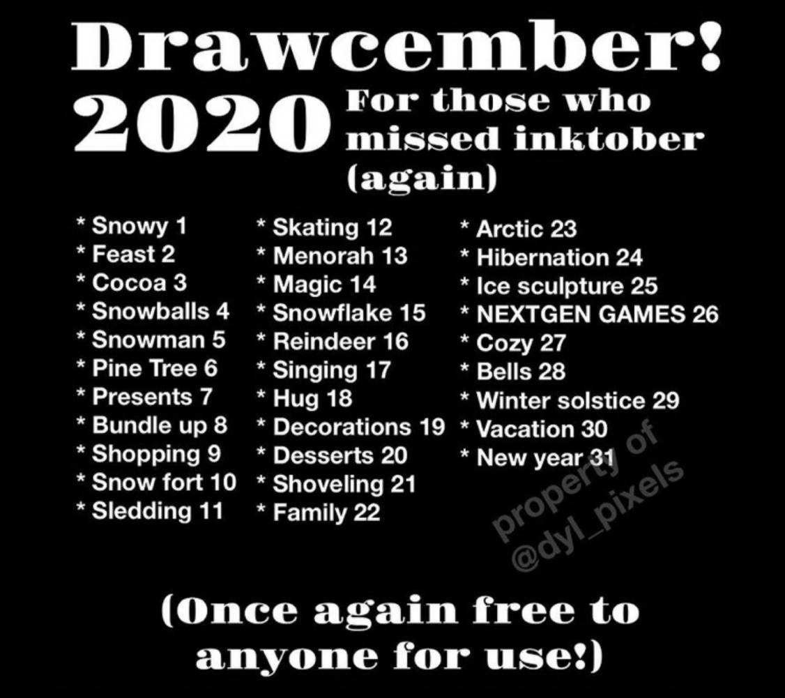 Drawcember Prompt List 2020