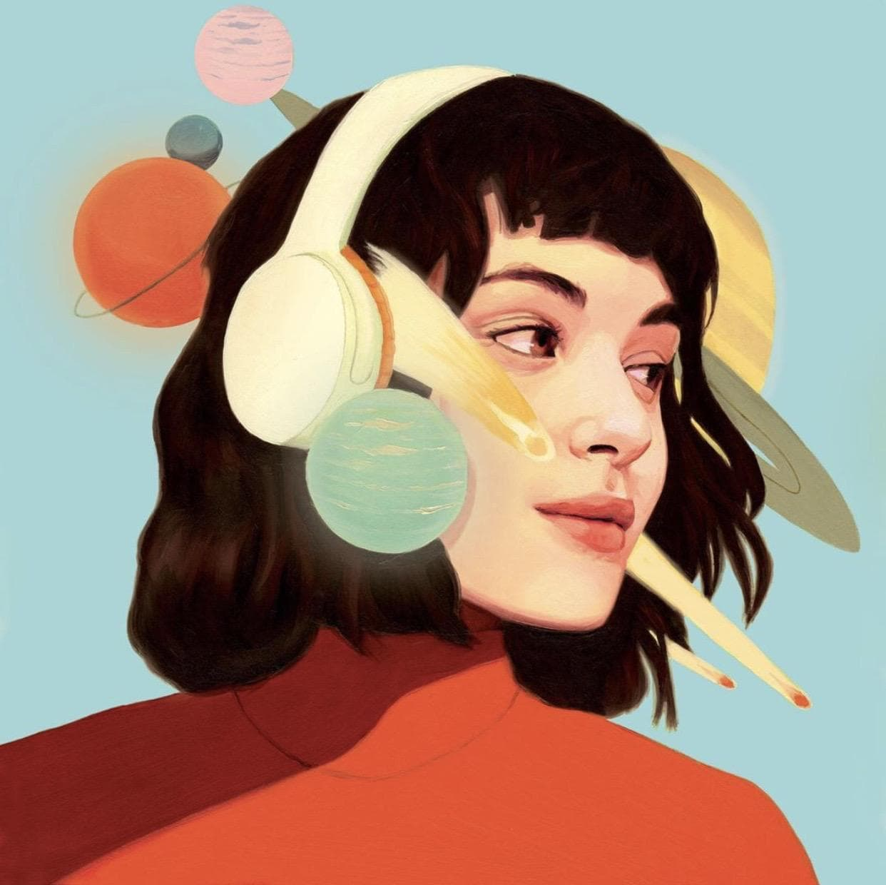 Portrait Painting of a woman with headphones by David de las Heras