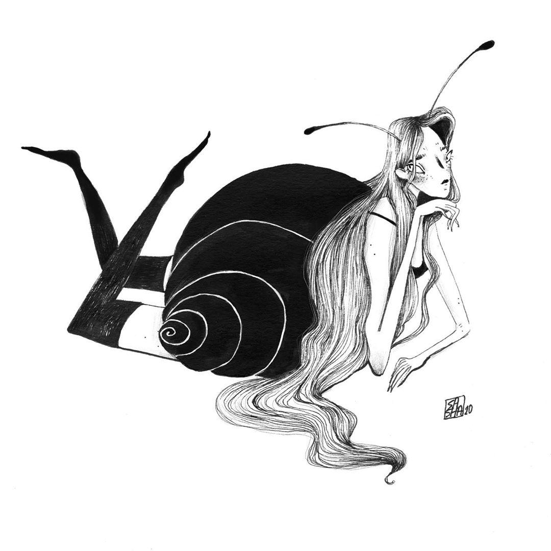Inktober 2020 - Crawl - sashagrr_illustration