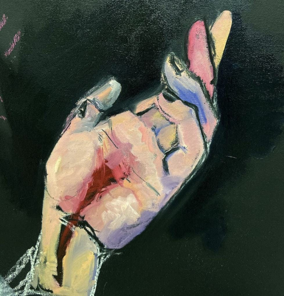 Painting of a hand by Elinor Shapiro