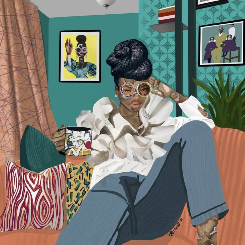 Gherdai Hassell painting of woman on the couch