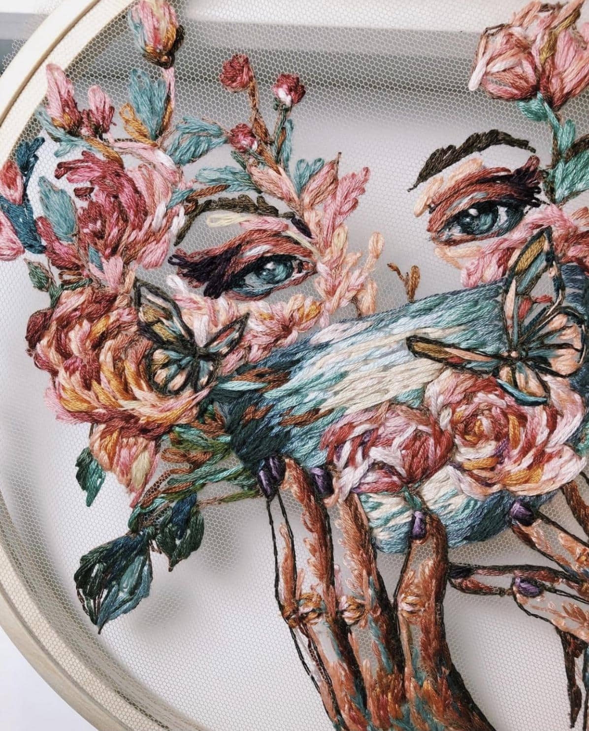 Floral Face embroidery by Kate Marchenko