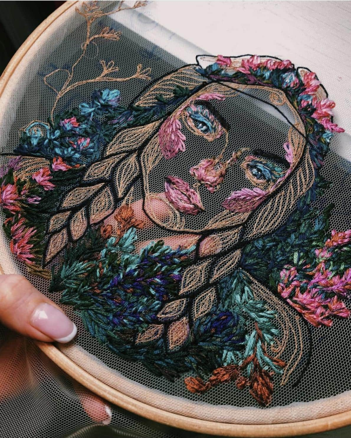 Floral Portrait embroidery by Kate Marchenko