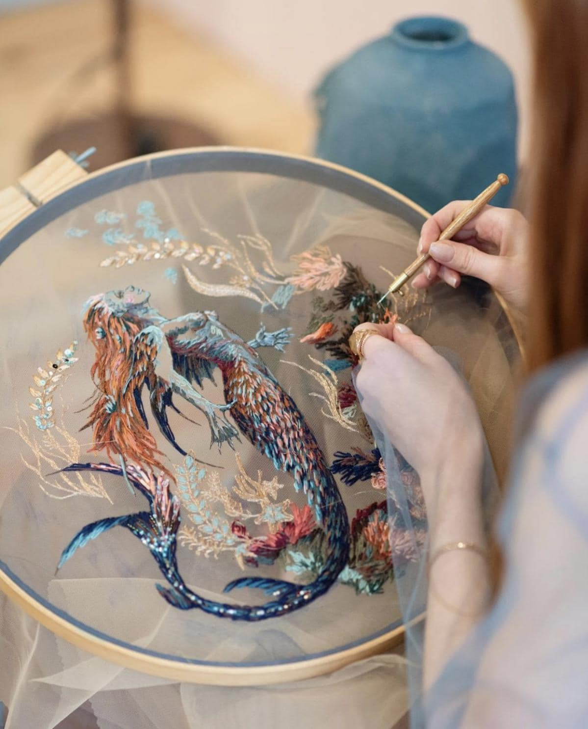 Mermaid embroidery by Kate Marchenko