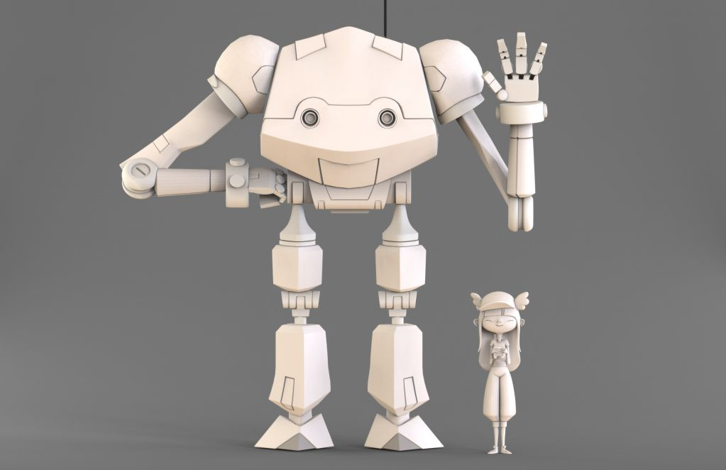 Fantasy 3d Robot and Girl Model by Eider Astigarraga
