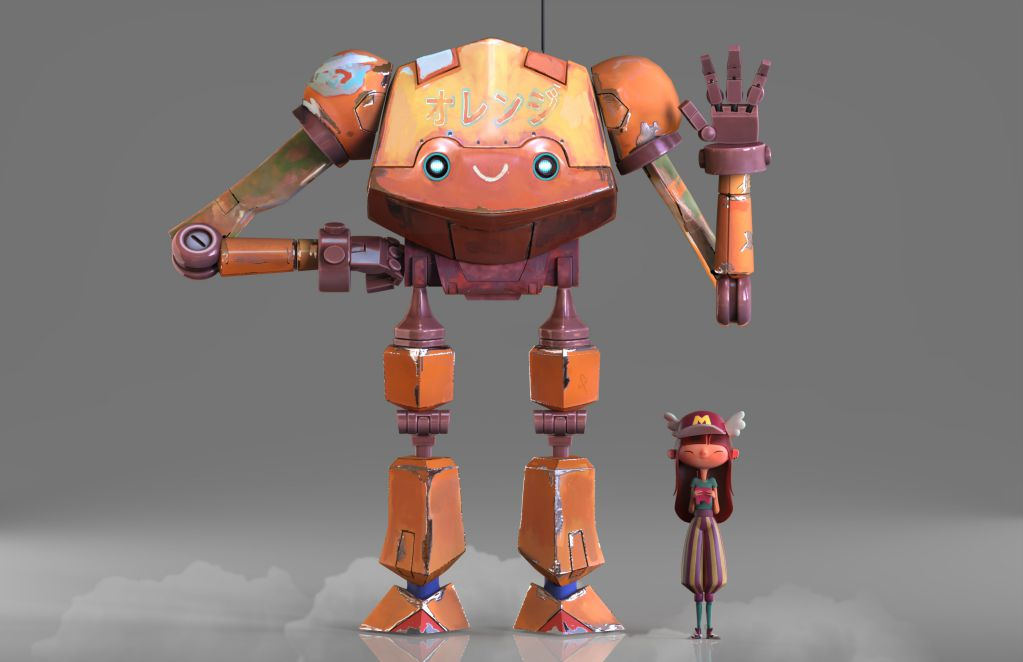 Fantasy 3d Robot and Girl Model Rendered by Eider Astigarraga