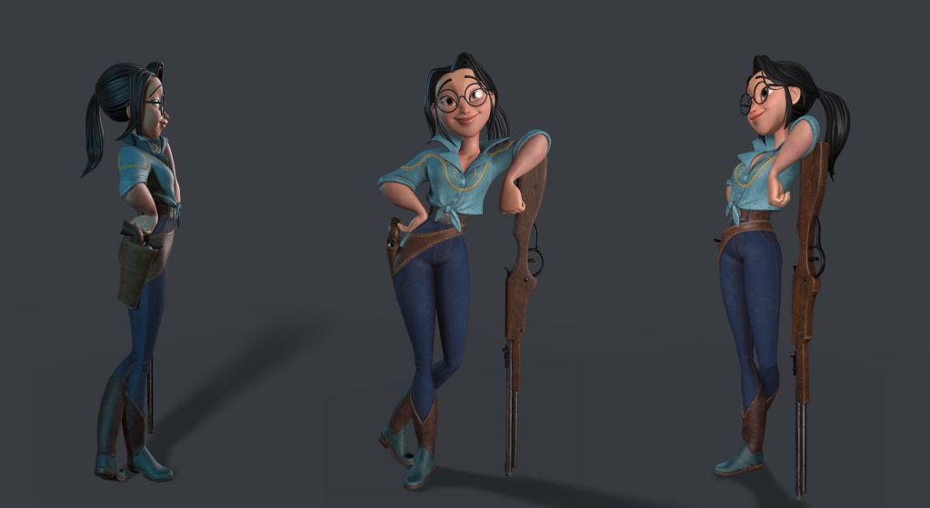 Fantasy 3d girl with pistol and gun render by Eider Astigarraga