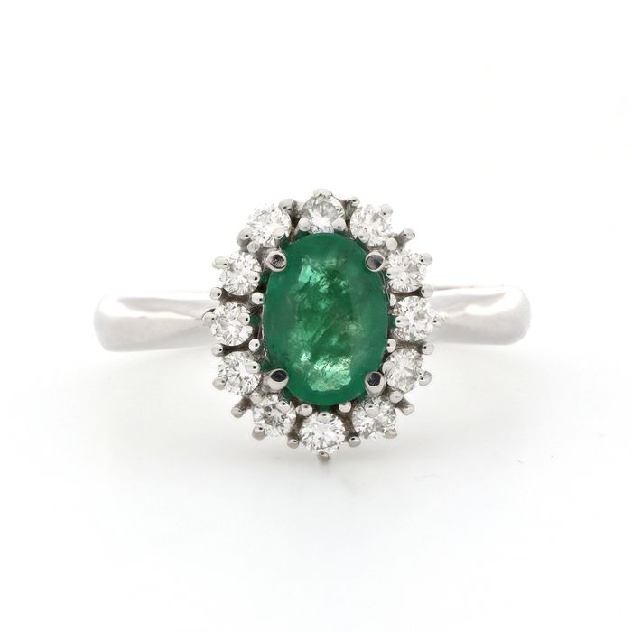 AIG Certificate - 18 kt. White gold - Ring - 1.08 ct Emerald - Diamonds
