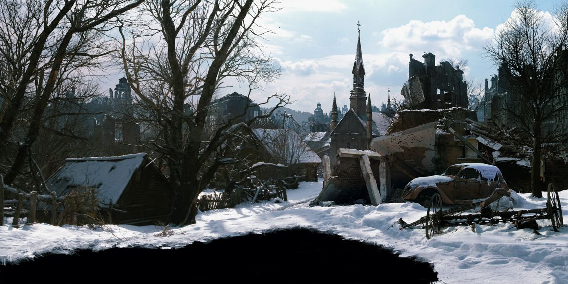 Jaime Jasso WWII town Matte Painting