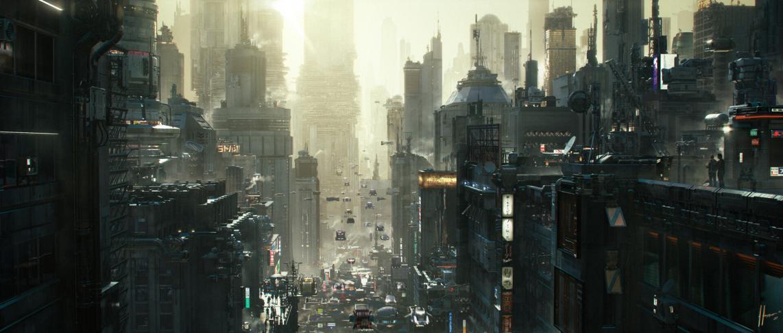 Morning Coffee - Cyberpunk city Matte Painting by Jaime Jasso