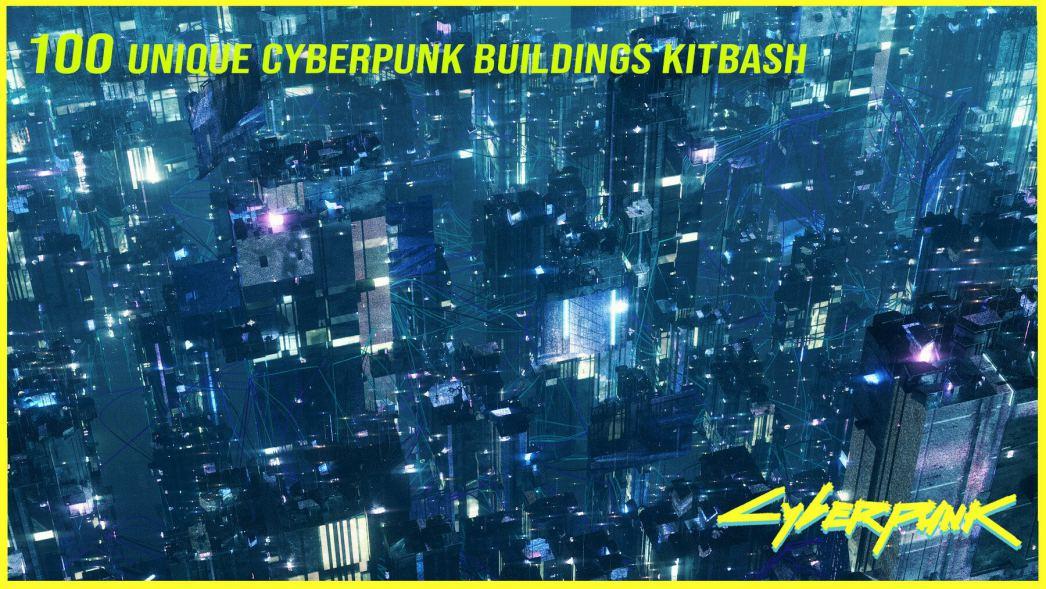 kitbash cyberpunk buildings