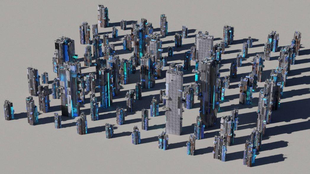 kitbash cyberpunk 3d buildings overview