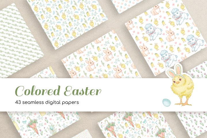 43 Colored Easter Seamless Digital Papers for Crafts