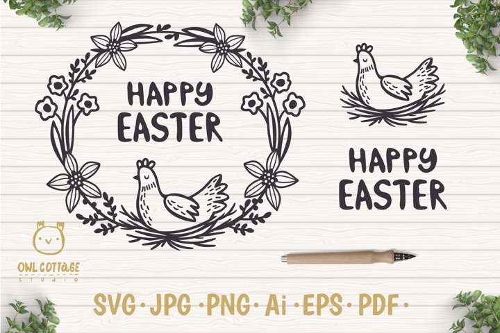 Easter Wreath with Hen svg