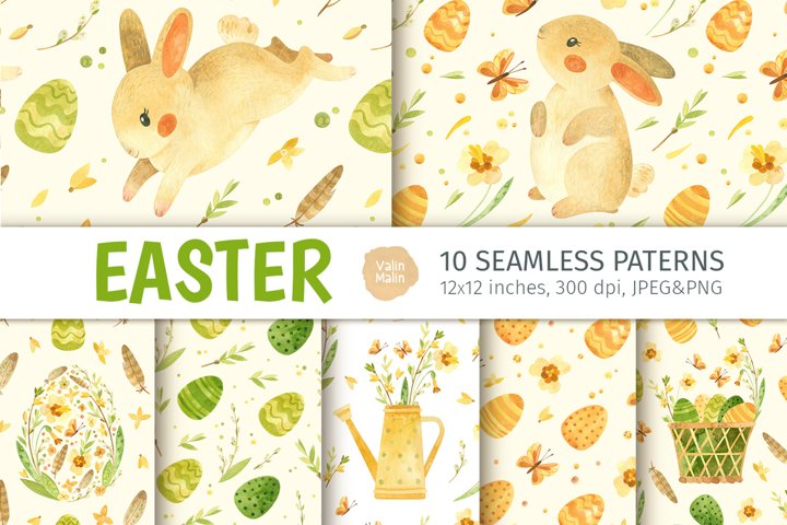 Easter bunny - Watercolor seamless patterns