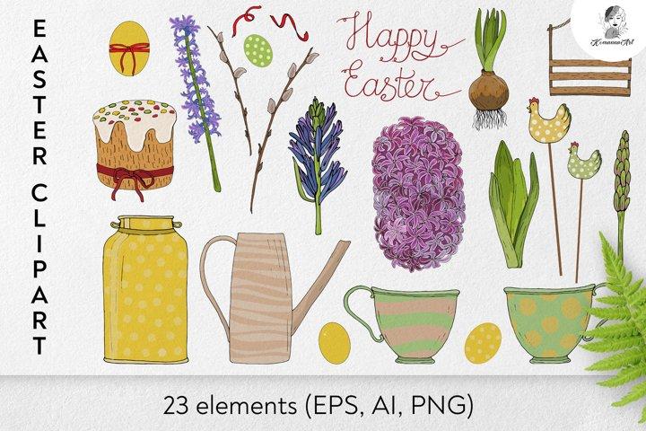 Hand drawn Vector Easter floral bundle