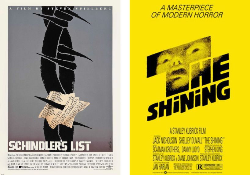 Schindler's List (poster) and The Shining (poster), c: Saul pass