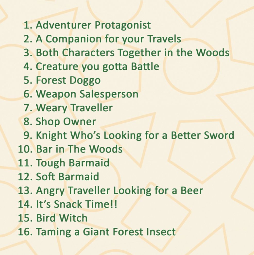 Adventure April Prompt List