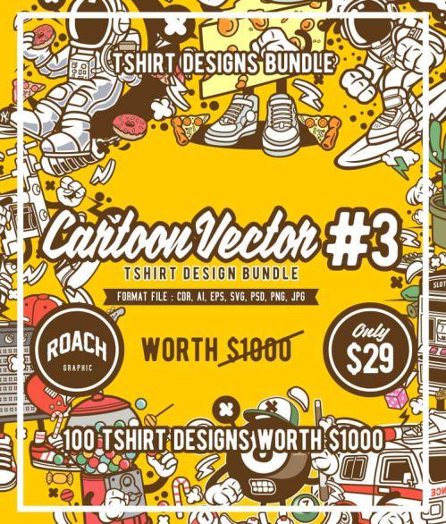Cartoon Vector T-shirt Design Bundle