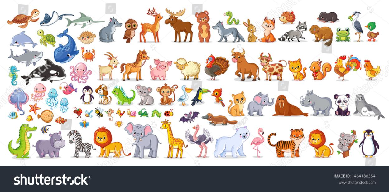 stock vector big vector set with animals in cartoon style vector collection with mammals compressed