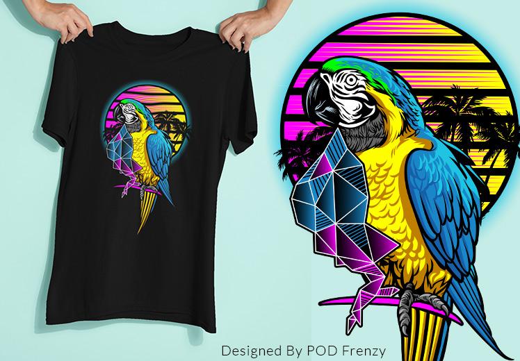 Parrot Synthwave T-shirt Design