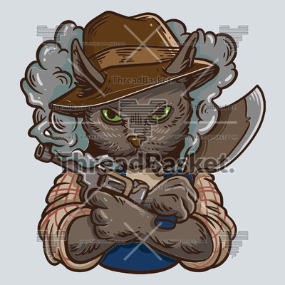 Cat with gun and cleaver t-shirt design