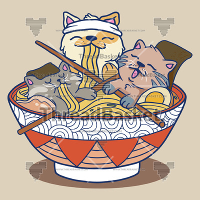 Ramen Cats T-shirt Design