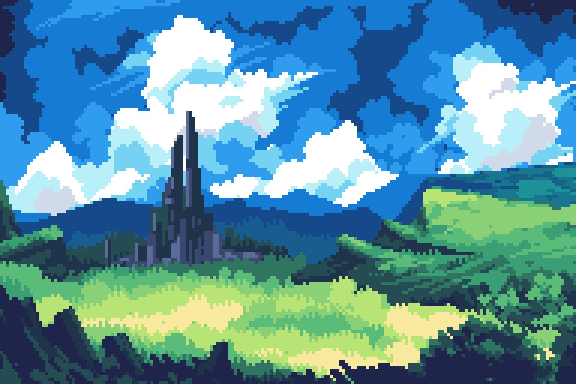 Castle sky pixelart by frosty_rabbid / Wildan R²