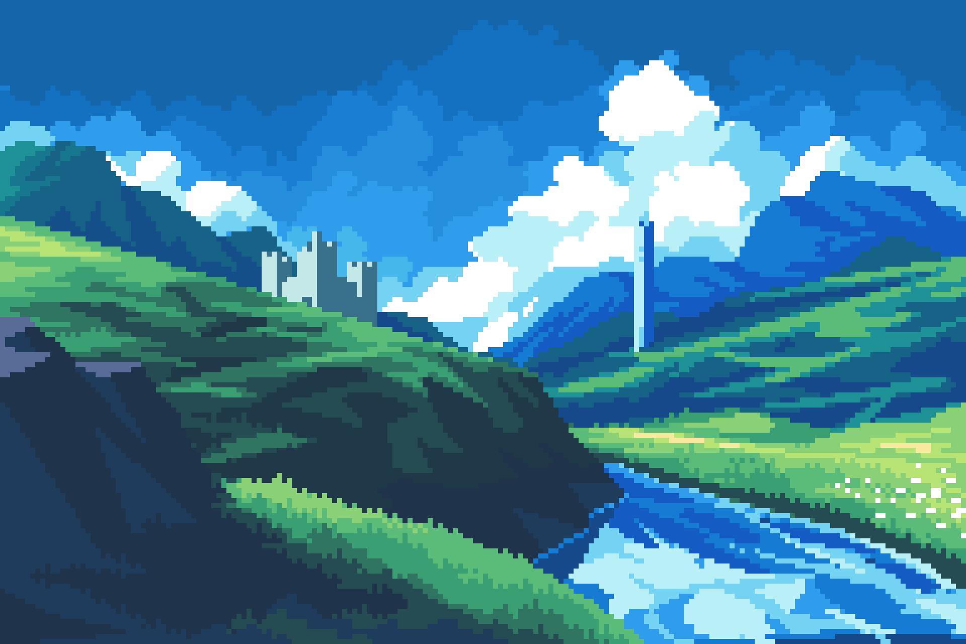 Castle, hills and clouds pixelart by frosty_rabbid / Wildan R²